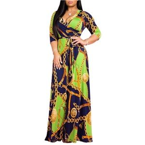 V Neck Long Sleeves Maxi Dresses Casual Loose Part